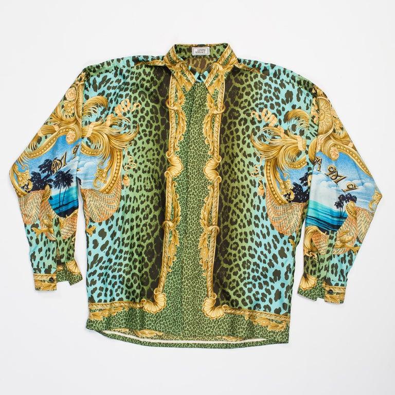 1990s Gianni Versace Miami Leopard Baroque Silk Shirt