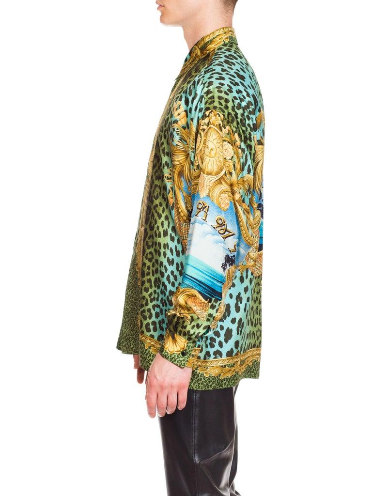 Men's Gianni Versace Miami Leopard Baroque Silk Shirt, 1990s