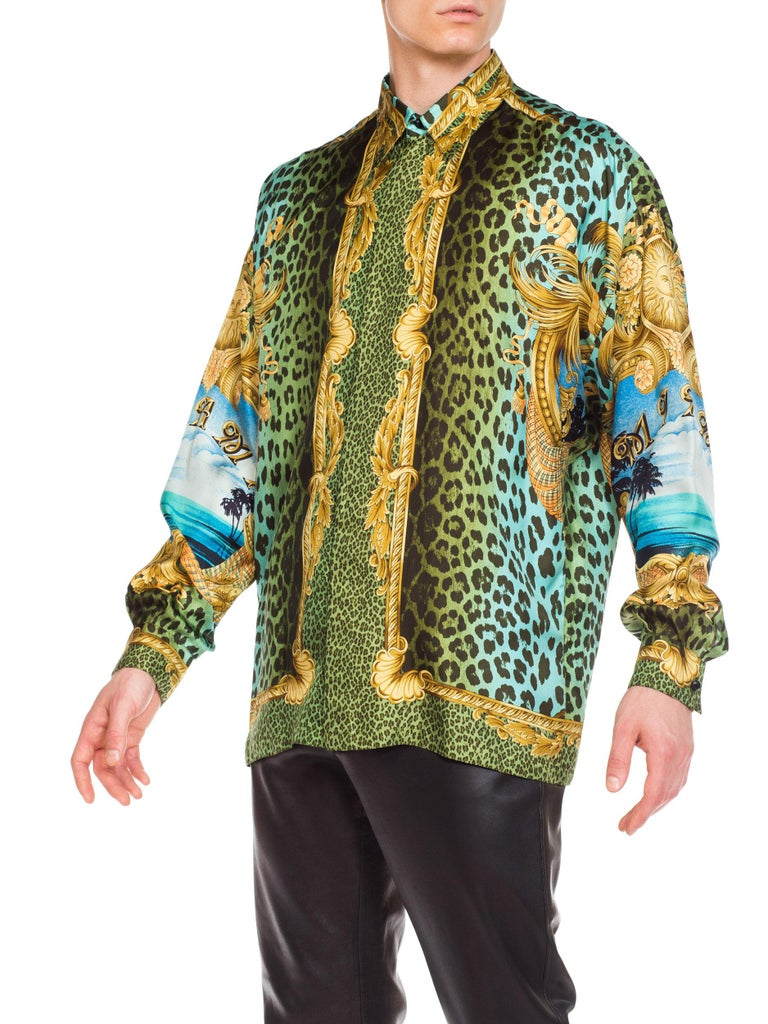Brown Gianni Versace Miami Leopard Baroque Silk Shirt, 1990s