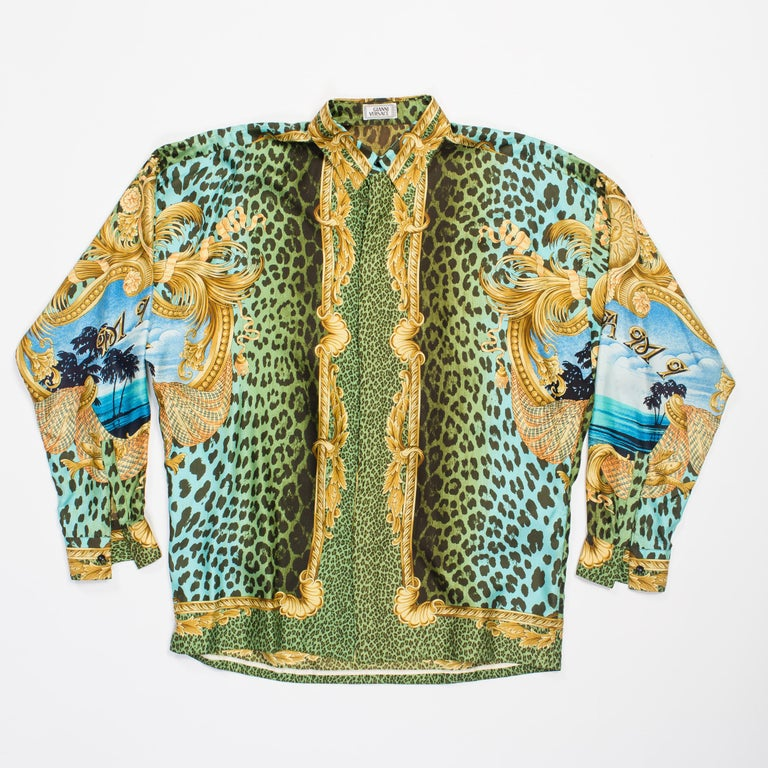 Gianni Versace Miami Leopard Baroque Silk Shirt, 1990s  In Excellent Condition In New York, NY