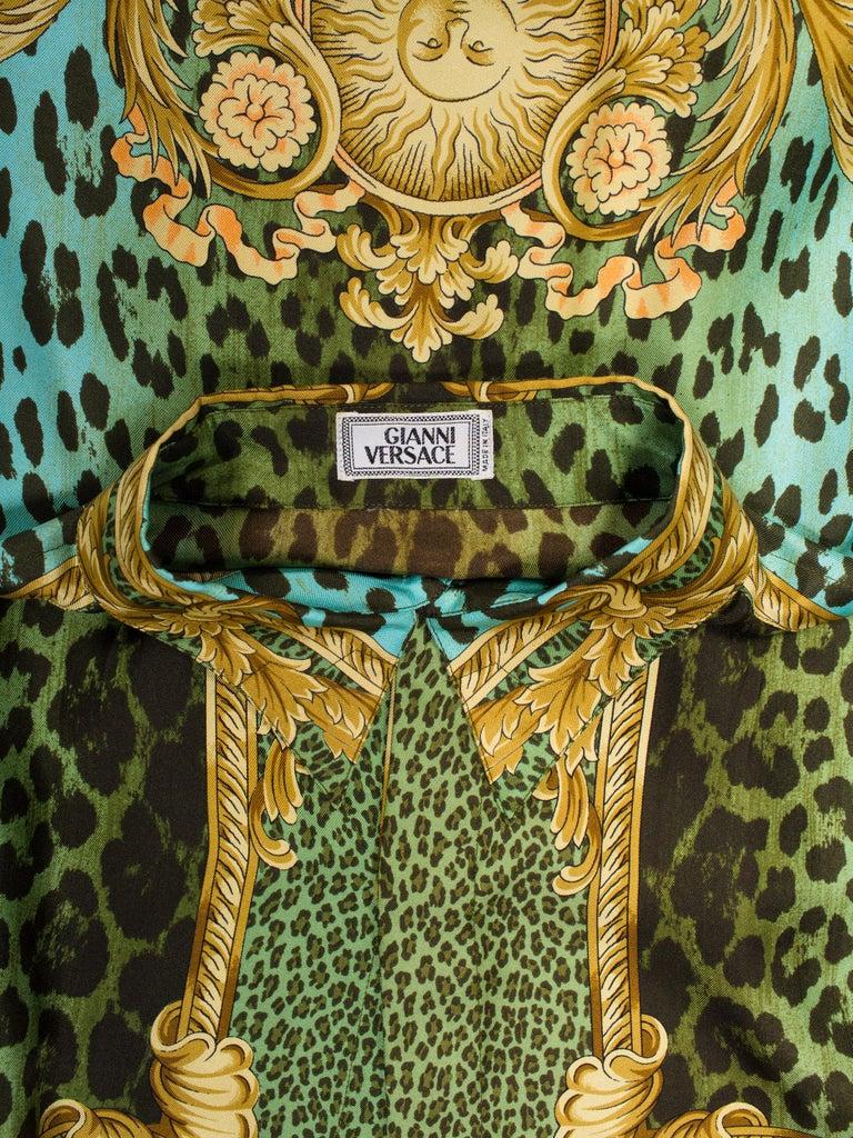 Gianni Versace Miami Leopard Baroque Silk Shirt, 1990s  1