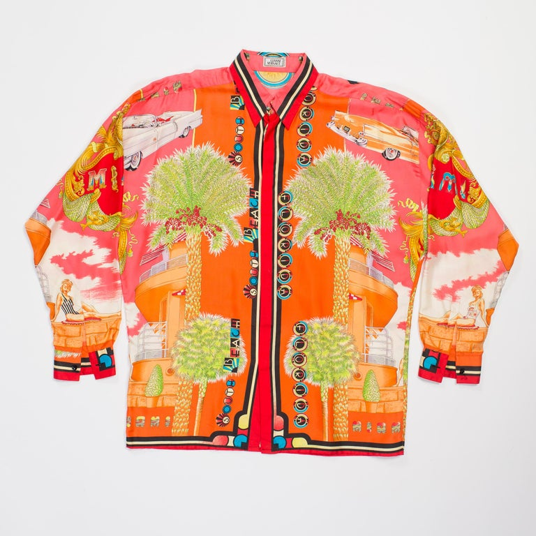 Orange 1990s Mens Gianni Versace South Beach 50s Pin Up Cadellac Silk Shirt Miami