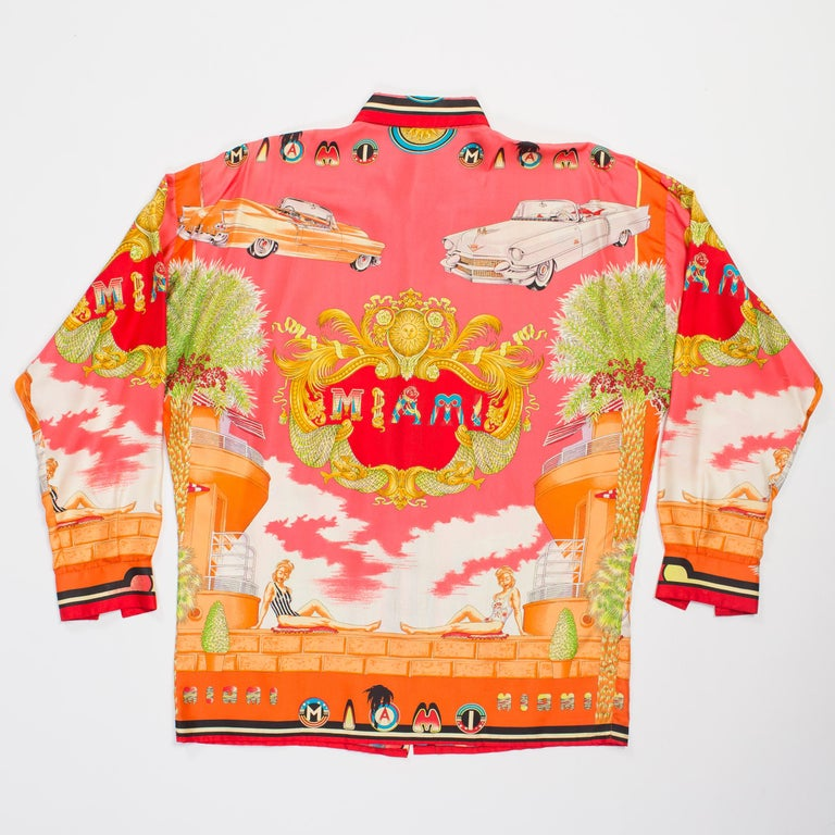 1990s Mens Gianni Versace South Beach 50s Pin Up Cadellac Silk Shirt Miami 2