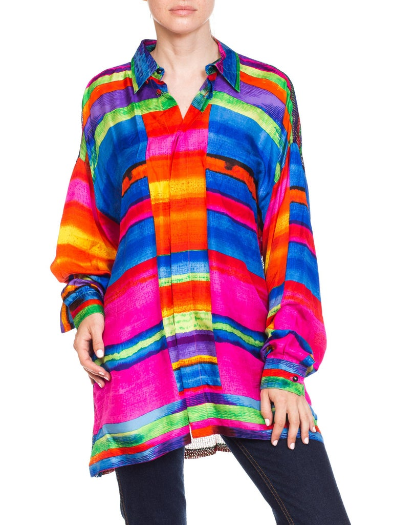Red 1990s Gianni Versace Colorblock Silk Shirt with Sheer Net Back Panel For Sale