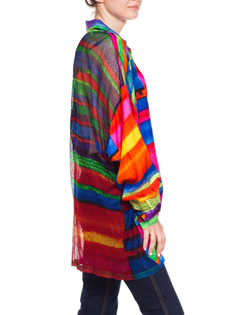 Women's or Men's 1990s Gianni Versace Colorblock Silk Shirt with Sheer Net Back Panel For Sale