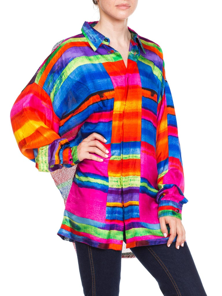 1990s Gianni Versace Colorblock Silk Shirt with Sheer Net Back Panel In Excellent Condition For Sale In New York, NY