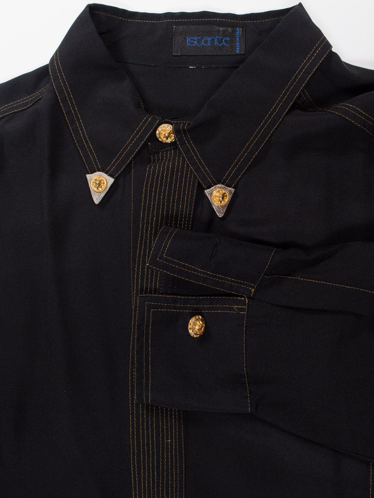 Black 1990s Versace Istante Silk Shirt with Gold Stitching and Western Detalis For Sale