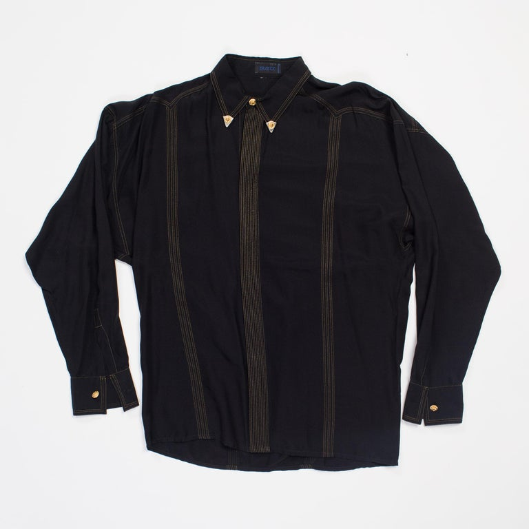 1990s Versace Istante Silk Shirt with Gold Stitching and Western Detalis For Sale 1