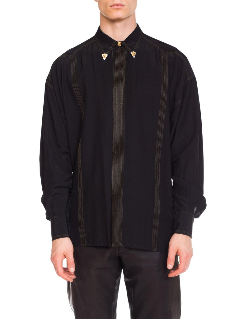 Men's 1990s Versace Istante Silk Shirt with Gold Stitching and Western Detalis For Sale
