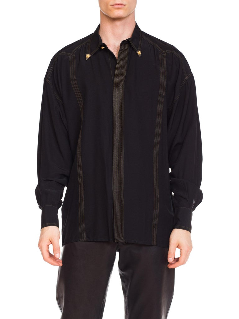 1990s Versace Istante Silk Shirt with Gold Stitching and Western Detalis In Excellent Condition For Sale In New York, NY