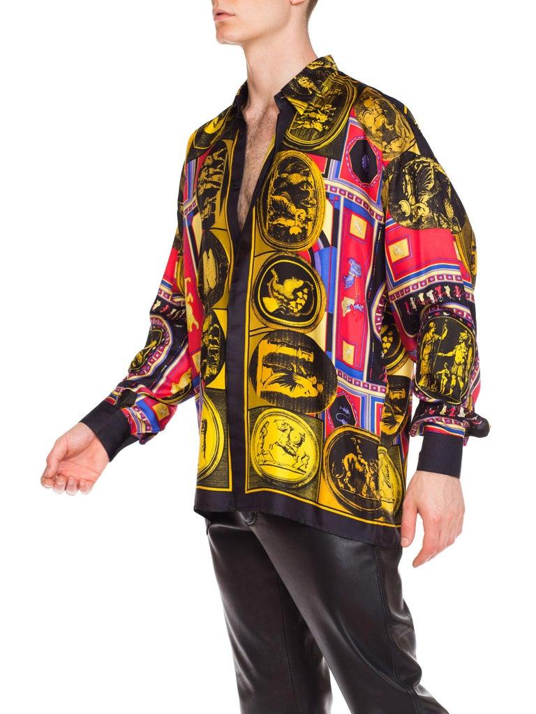 Women's or Men's istante by versace Printed Julius Caesar Silk Shirt, 1990s  For Sale