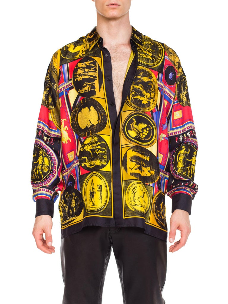 Black istante by versace Printed Julius Caesar Silk Shirt, 1990s  For Sale