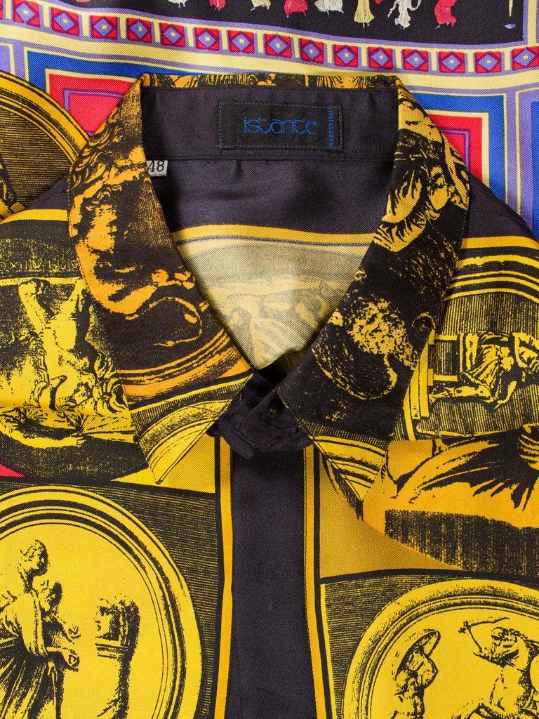 1990s Men's Istante Versace Printed Julius Caesar Silk Shirt