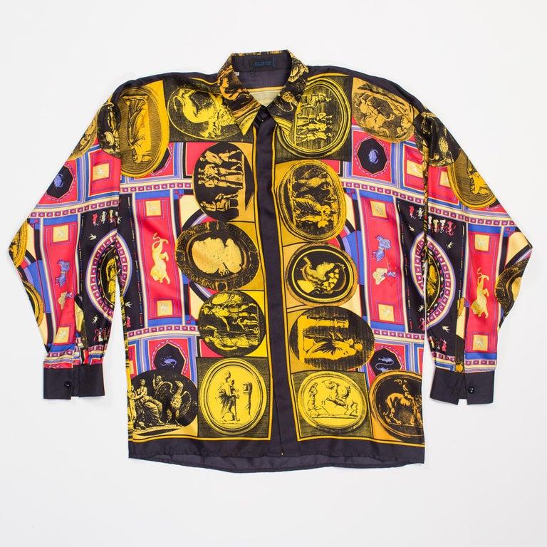 istante by versace Printed Julius Caesar Silk Shirt, 1990s  For Sale 1