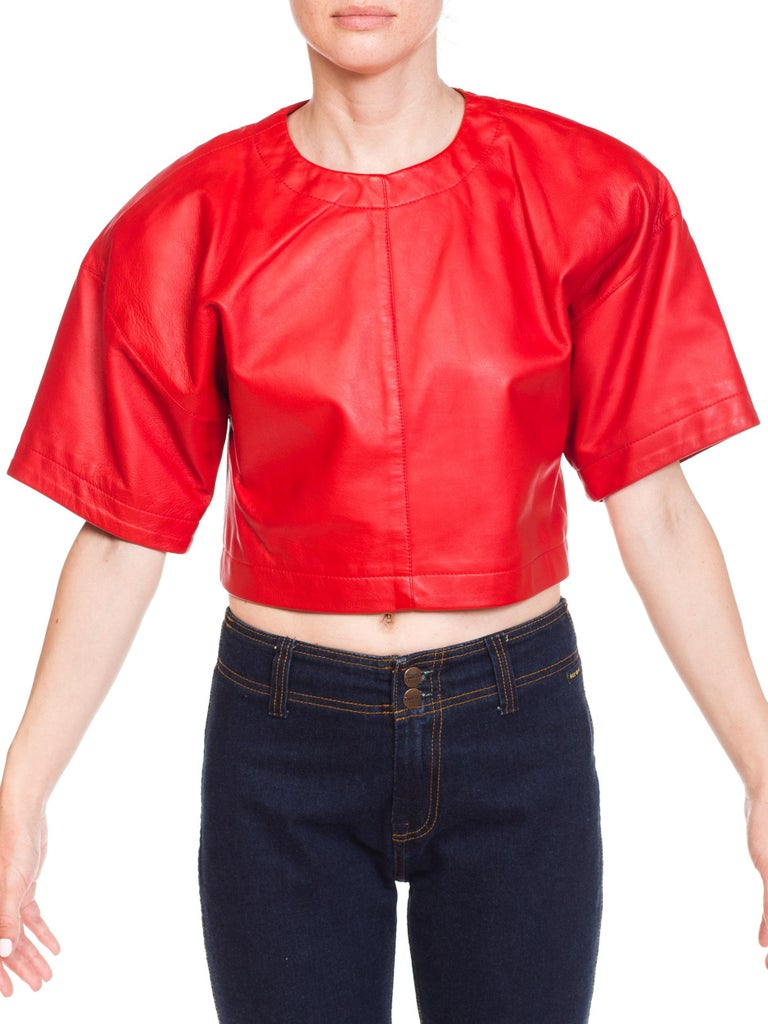 1980s Red Leather Oversized Crop Top For Sale 4