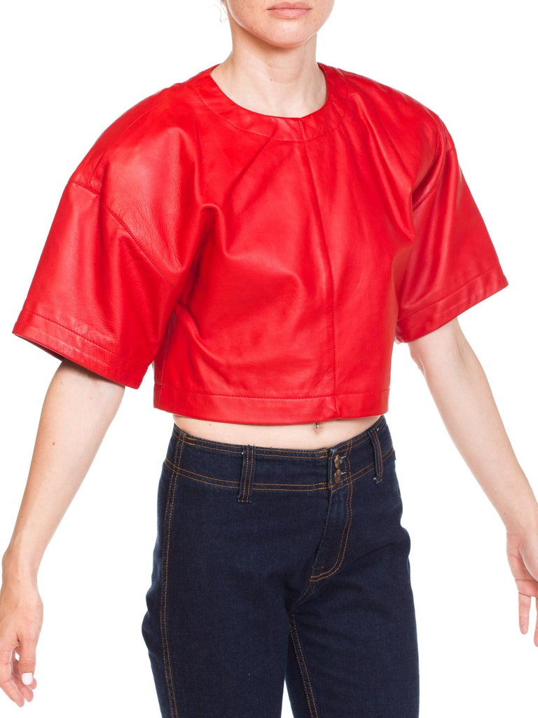 1980s Red Leather Oversized Crop Top In Excellent Condition For Sale In New York, NY