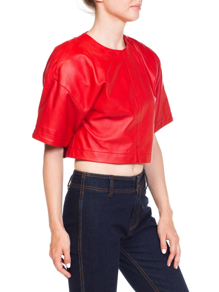 Women's 1980s Red Leather Oversized Crop Top For Sale