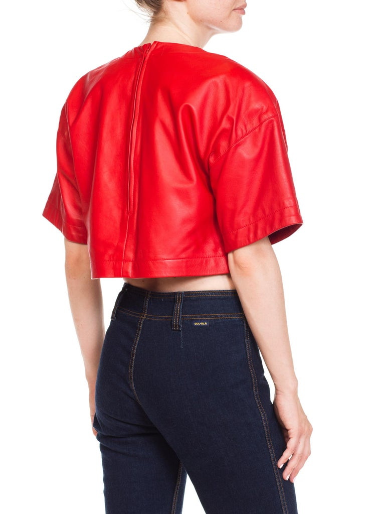 1980s Red Leather Oversized Crop Top For Sale 1