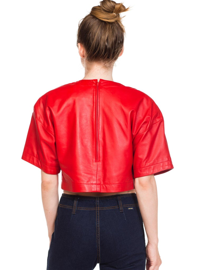 1980s Red Leather Oversized Crop Top For Sale 2