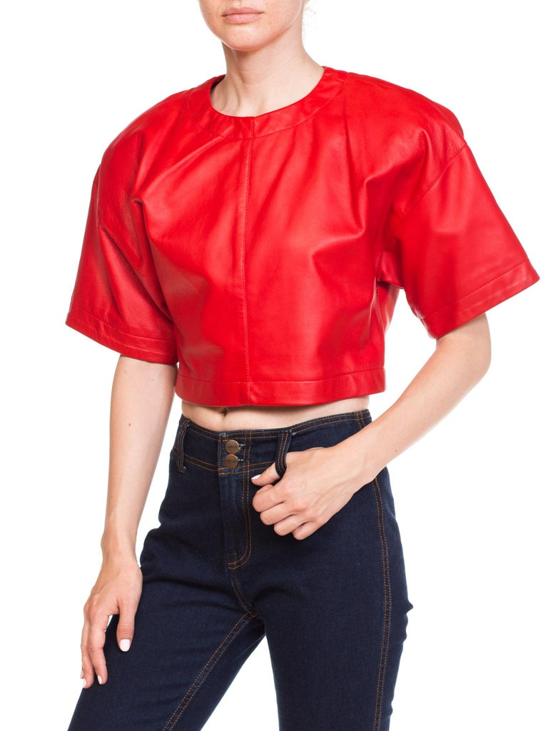 1980s Red Leather Oversized Crop Top For Sale 3