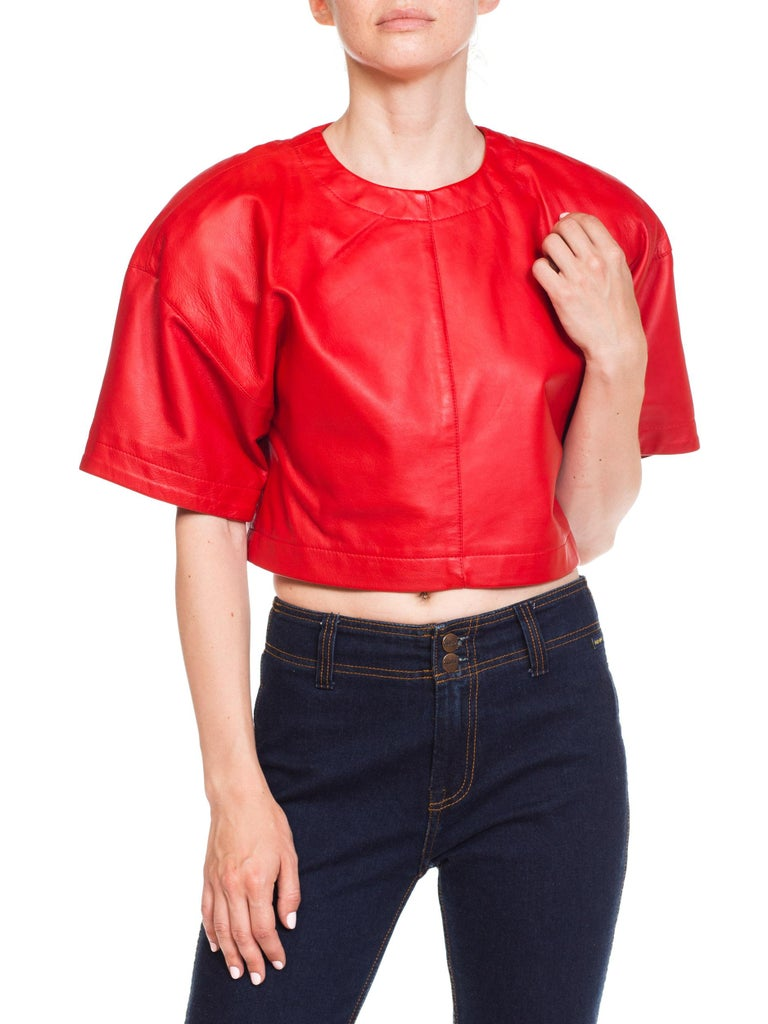 1980s Red Leather Oversized Crop Top For Sale 5
