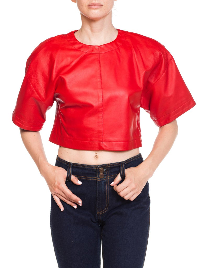 1980s Red Leather Oversized Crop Top For Sale 6