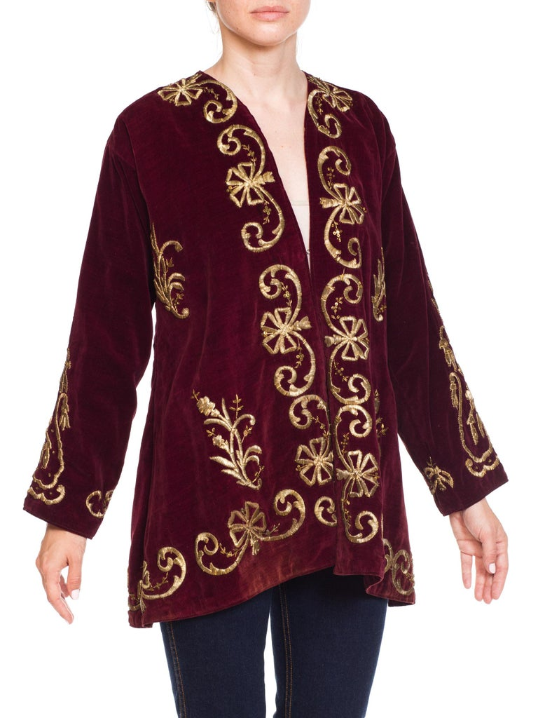 1920S Cranberry Red Cotton Velvet Antique Patina Jacket From Afghanistan With Silver Metal Embroidery