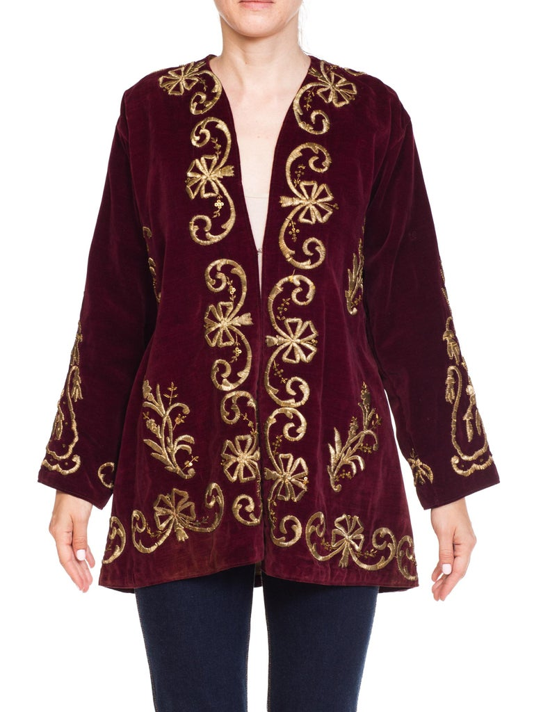Black 1920S Cranberry Red Cotton Velvet Antique Patina Jacket From Afghanistan With S For Sale