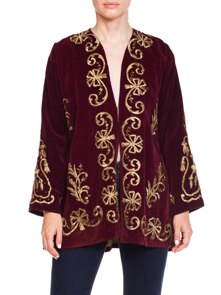 1920S Cranberry Red Cotton Velvet Antique Patina Jacket From Afghanistan With S In Excellent Condition For Sale In New York, NY