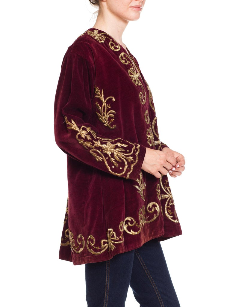 Women's 1920S Cranberry Red Cotton Velvet Antique Patina Jacket From Afghanistan With S For Sale
