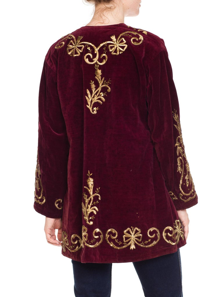 1920S Cranberry Red Cotton Velvet Antique Patina Jacket From Afghanistan With S For Sale 1