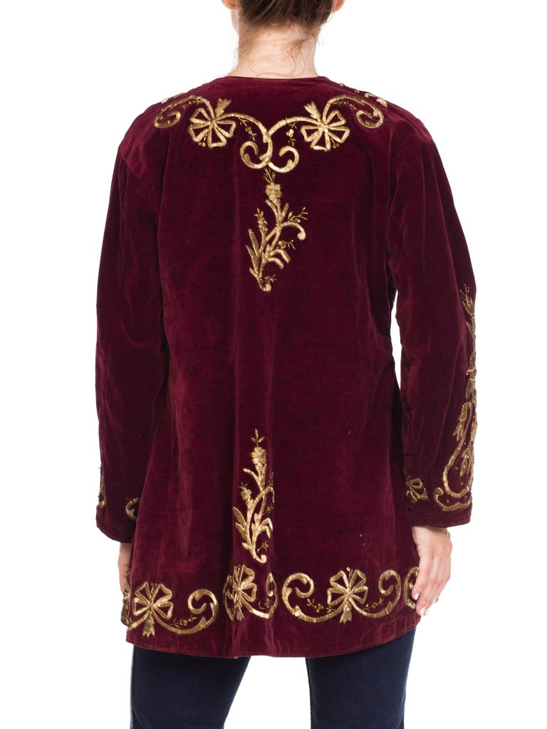 1920S Cranberry Red Cotton Velvet Antique Patina Jacket From Afghanistan With S For Sale 2