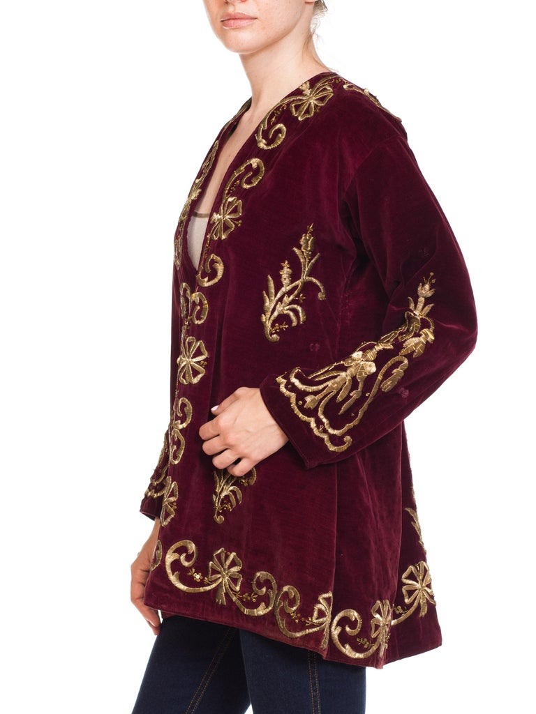 1920S Cranberry Red Cotton Velvet Antique Patina Jacket From Afghanistan With S For Sale 3