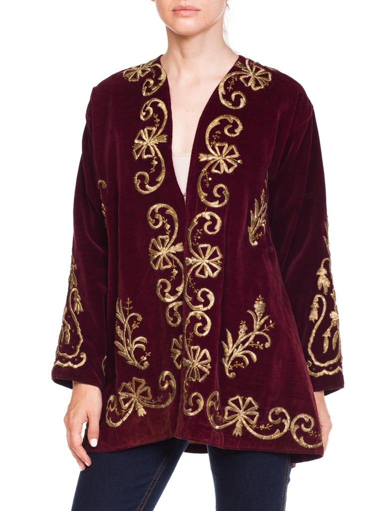 1920S Cranberry Red Cotton Velvet Antique Patina Jacket From Afghanistan With S For Sale 4