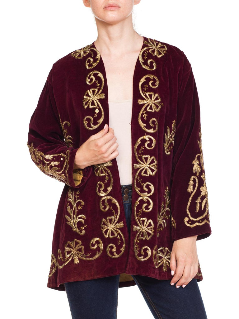 1920S Cranberry Red Cotton Velvet Antique Patina Jacket From Afghanistan With S For Sale 5