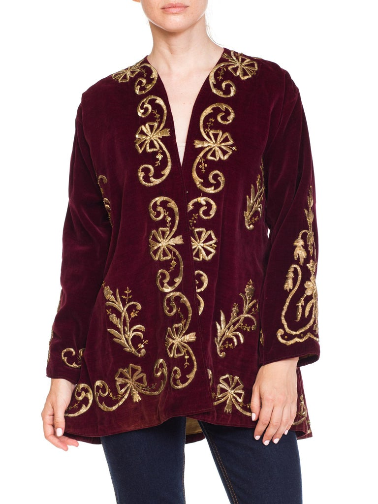 1920S Cranberry Red Cotton Velvet Antique Patina Jacket From Afghanistan With S For Sale 6