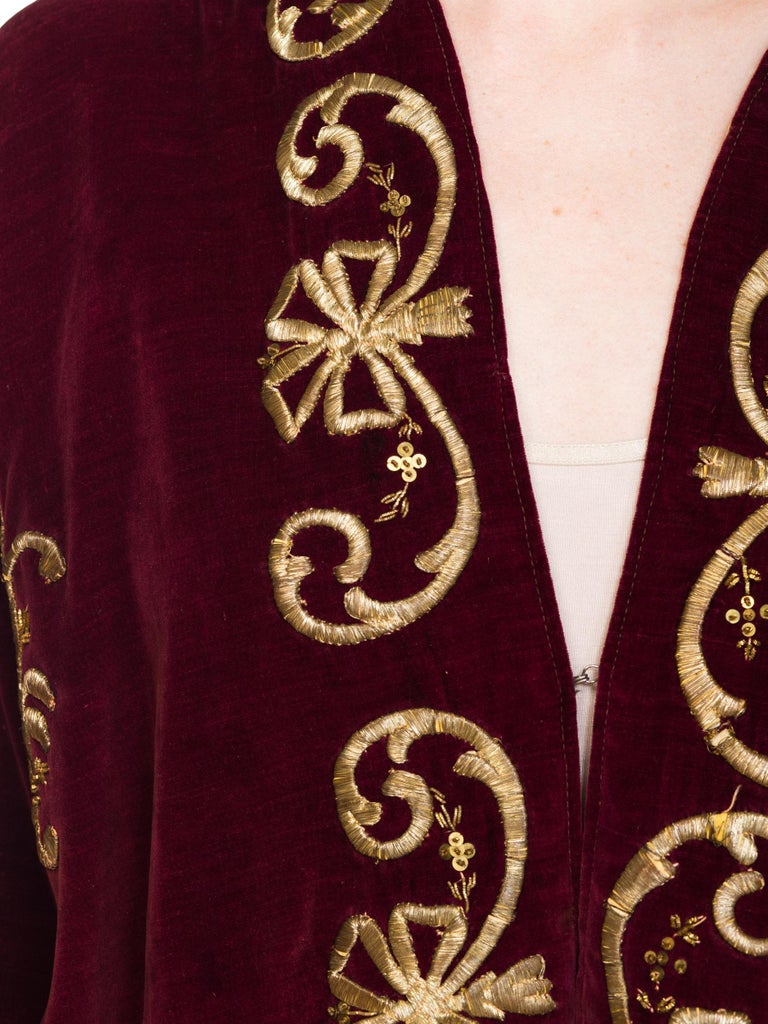 1920S Cranberry Red Cotton Velvet Antique Patina Jacket From Afghanistan With S For Sale 7