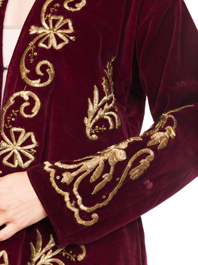 1920S Cranberry Red Cotton Velvet Antique Patina Jacket From Afghanistan With S For Sale 8