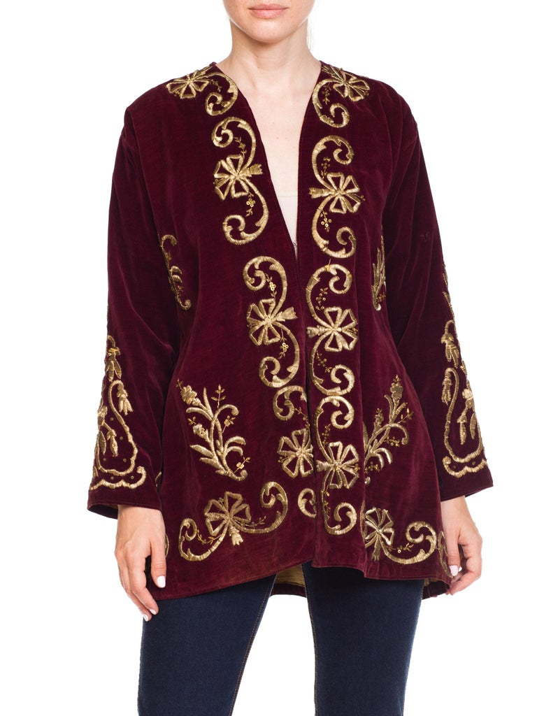 1920S Cranberry Red Cotton Velvet Antique Patina Jacket From Afghanistan With S For Sale 9