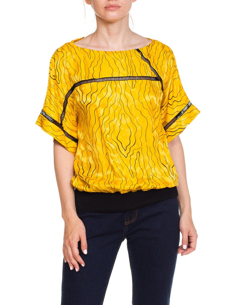 Yellow Nina Ricci Silk Blouse With Modern Blacklace Insets 1980s For Sale