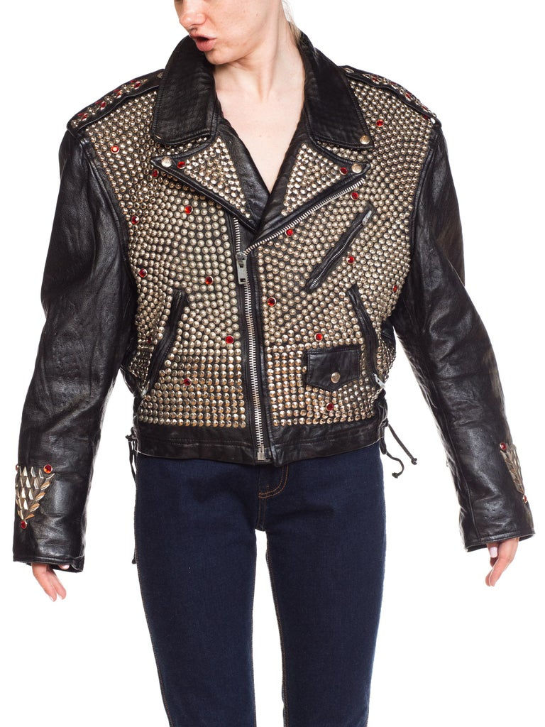 Leather Biker Jacket Covered in Studs & Crystals In Excellent Condition For Sale In New York, NY