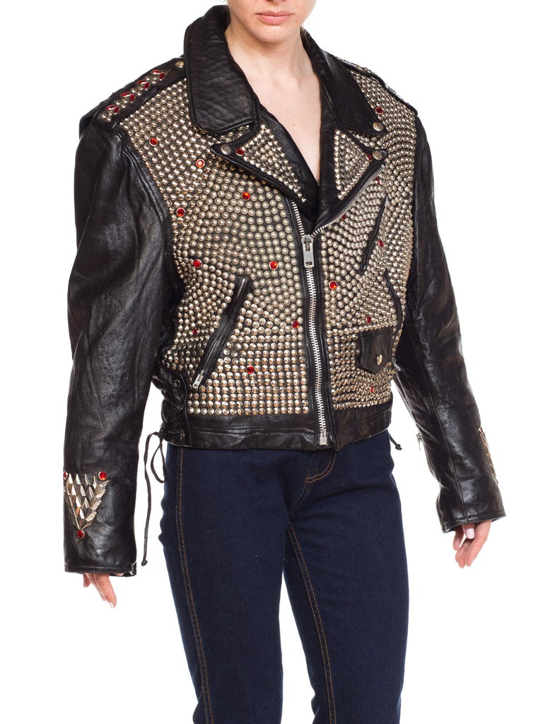 Women's Leather Biker Jacket Covered in Studs & Crystals For Sale