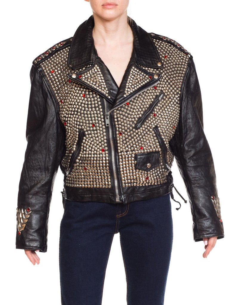 Leather Biker Jacket Covered in Studs & Crystals For Sale 1