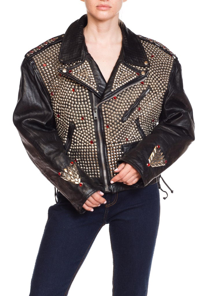 Leather Biker Jacket Covered in Studs & Crystals For Sale 2