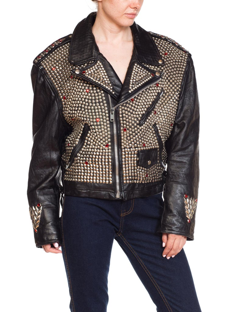 Leather Biker Jacket Covered in Studs & Crystals For Sale 3
