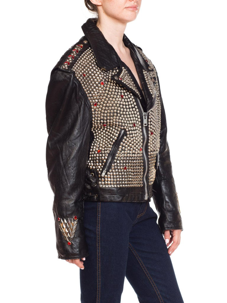Leather Biker Jacket Covered in Studs & Crystals For Sale 4