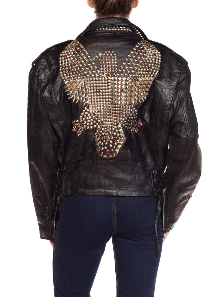 Leather Biker Jacket Covered in Studs & Crystals For Sale 5