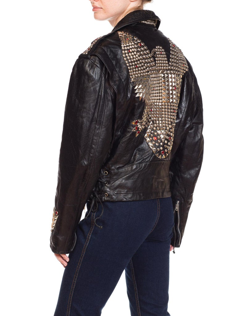Leather Biker Jacket Covered in Studs & Crystals For Sale 6