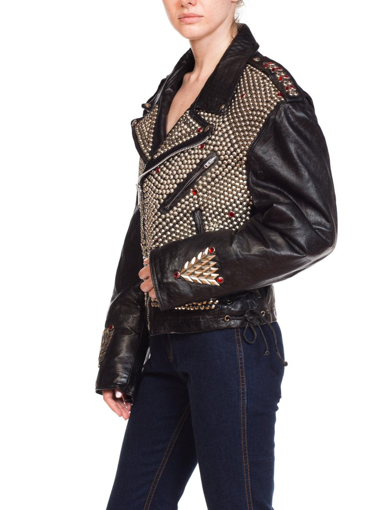 Leather Biker Jacket Covered in Studs & Crystals For Sale 7