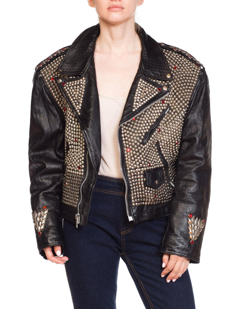 Leather Biker Jacket Covered in Studs & Crystals For Sale 9